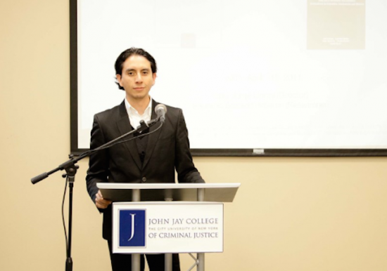 Eduardo giving a talk about corruption at John Jay College in New York. Photo by David Sastre
